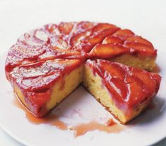 Plum Upside-Down Cake. Really good. Changes: 1/4 cup butter, 1/2 cup sugar, 3/4 cup flour, 1/2 cup sour cream, added lemon zest, double the plums with no added sugar. Made in my cast iron pan