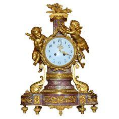 Gorgeous Louis XVI Style Marble & Gilded Bronze Clock Spain 1860