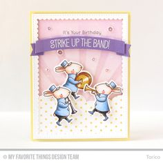 Handmade card from Torico featuring Birdie Brown Strike up the Band #mftstamps