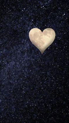 Heart moon night sky