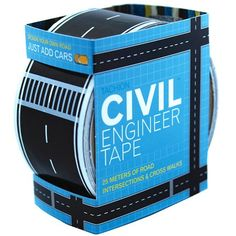 Gifts for Boys Ages 3 - 6 ~  I love how this simple roll of Civil Engineer Tape can actually provide something to DO with all of his Matchbox cars.  You can make a track all through the house, up and over the couch, across sleeping daddy and dog, and down the hall to junior's bedroom.  That's where it ends, mind you.