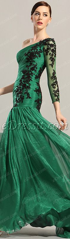eDressit Dark Green One Sleeve Applique Evening Dress