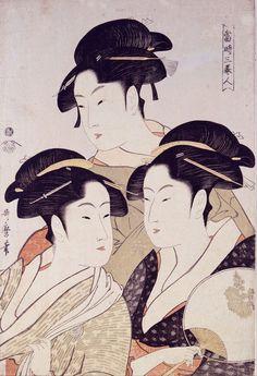 "Utamaro - WikiWandvintage geisha art: Kitagawa Utamaro (Japanese: 喜多川 歌麿; ca1753 – 31 October 1806) ""Three Beauties of the Present Day"" ca 1793 • ukiyo-e genre of woodblock prints, famous for bijin-ga (female beauties) + nature studies (esp. insect books) influenced the European Impressionists"