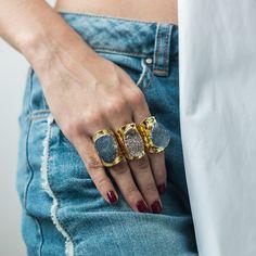 Big Druzzy Ring Gemstone Rings, Gemstones, Big, Gold, Jewelry, Month Gemstones, Jewellery Making, Jewels, Jewlery