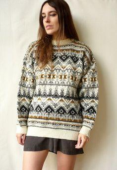 1980's Vintage Shetland Wool Aztec Pattern Knitted Jumper