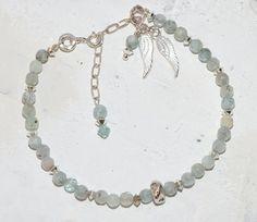 Angel Wing Bracelet Semi Precious Aquamarine  with sterling silver nugget bead.