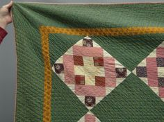 """Detail, 19th c. court house steps quilt, 78"""" x 80"""", Copake Auction, Live Auctioneers"""