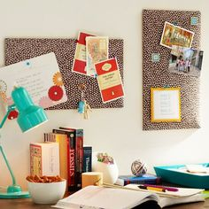 All the fun colors should be in my home office especially this fabric pin board idea!