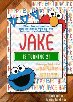 Elmo Birthday Party Invitation With Chevron And By TurqAndGold 2000