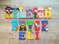 Handpainted wall letters, best selling, kids room decor, marvel characters, disney princess letters, lego letters, kids name letters by ABeautifulBohemian on Etsy https://www.etsy.com/listing/488348341/handpainted-wall-letters-best-selling