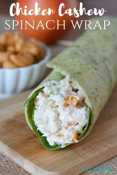 These Chicken Cashew Spinach Wraps are sure to become a new favorite lunch or healthy snack staple! Just look at all these healthy ingredients! http://www.thriftydiydiva.com/chicken-cashew-spinach-wraps/