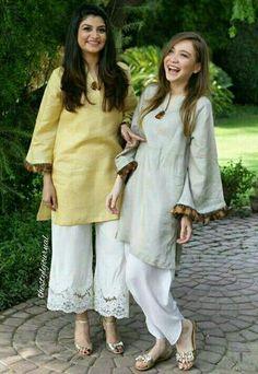 Pakistani Eid outfits by Maheen Ghani Taseer. Simple Pakistani Dresses, Pakistani Fashion Casual, Indian Fashion Dresses, Pakistani Dress Design, Indian Designer Outfits, Pakistani Outfits, Indian Outfits, Eid Outfits, Stylish Dresses For Girls