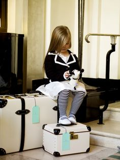 Childrens kids couture style fashion clothing: black jacket coat blazer with white trim, white dress, white leather shoes, striped leggings (mw) Fashion Kids, Little Girl Fashion, Travel Fashion, Style Fashion, Little Doll, Little Girls, Cute Kids, Cute Babies, Baby Boys