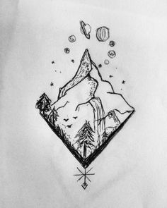 provocative-planet-pics-please.tumblr.com Some random sketching at the airport. My potential next tattoo!? #drawing #tattooidea #sketch #planets #nature #mountains #wanderlust #tattoosketch by nina.outintheworld https://www.instagram.com/p/BDOODpXiFnu/