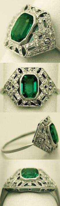 0.98 ct Emerald and 0.27 ct Diamond Platinum Dress Ring - Art Deco Style - Antique Circa 1920