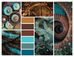 :: circular in teal + bronze color schemes colour palettes, colour pal Color Schemes Colour Palettes, Brown Color Schemes, Living Room Color Schemes, Color Trends, Bedroom Colour Palette, Colour Pallette, Design Seeds, Color Swatches, Color Theory