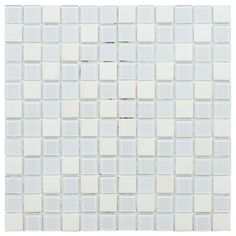 This tile features a mix of colors and finishes with transparent colored glass, patterned glass in glossy and frosted finishes, and smooth natural stone. This mesh-mounted mosaic in medium tones will suit a variety of decors.