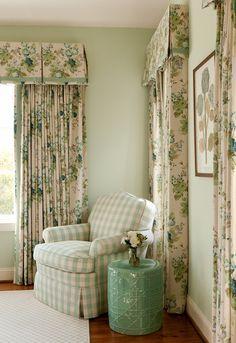 Soft green walls, chintz draperies, checked chair, garden stool - Tillman Long