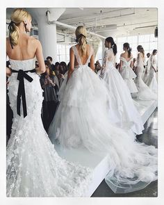 The Marchesa Bridal girls lined up at the #ss18marchesabridal presentation!! #marchesa #marchesabridal