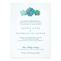 Customizable Invitation made by Zazzle Invitations. Personalize it with photos & text or shop existing designs! Succulent Wedding Invitations, Botanical Wedding Invitations, Destination Wedding Invitations, Watercolor Wedding Invitations, Modern Wedding Invitations, Wedding Invitation Cards, Wedding Cards, Wedding Bells, Invitation Paper
