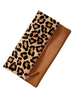 Gap Leopard Foldover Clutch - Want to save 50% - 90% on women's fashion? Visit http://www.ilovesavingcash.com