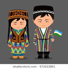 Illustration of Uzbeks in national dress with a flag. Man and woman in traditional costume. Travel to Uzbekistan. vector art, clipart and stock vectors. Anastasia, Costumes Around The World, Indian Bridal Fashion, Muslim Brides, Thinking Day, Banner Printing, Vintage Paper Dolls, Wooden Dolls, Flat Illustration