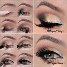 Black, beige, gold makeup