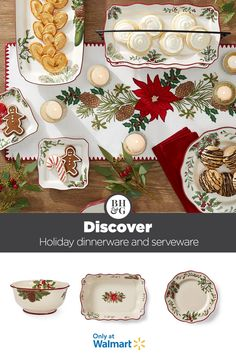 Discover new holiday dinnerware and serveware from Better Homes & Gardens at Walmart. #holiday #christmas #dinnerware #serveware #christmascookietray #cookieplatter #holidaytable