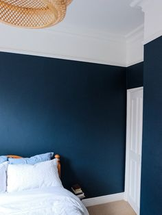 Dark Blue Bedroom Wall Ideas Dark Blue Bedroom Wall Ideas -Delightful to my website, in this period I am going to teach you in relation to dark blue bedroom wall ideas . Dark Blue Bedroom Walls, Airy Bedroom, Romantic Bedroom Decor, Blue Walls, Bedroom Ideas, Hague Blue, Villa, Bedroom Paint Colors, Modern Room