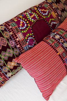 Hand woven and brocaded cotton huipil pillows.
