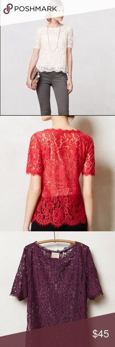 (Black) Elysian Lace Top The Elysian Lace top is so stunning in any color but up for grabs is the black version. Looks amazing over a tank or dress. It is sheer so it needs something underneath. In excellent used condition. No flaws found. XS Petite Anthropologie Tops Blouses