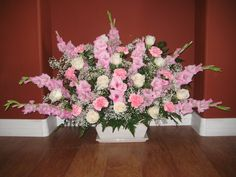 Large bouquet of pink Gladiolas, pink carnations, cream roses & baby's breath.this was a Celebration of Life/funeral floor piece by Flowers by A'Mor Funeral Arrangements, Rose Arrangements, Church Flowers, Funeral Flowers, Pink Carnations, Flower Stands, Baby's Breath, Cream Roses, Flower Ideas
