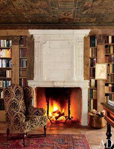 wood, books, rug