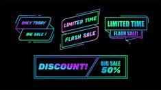 Sale banners set Premium Vector | Premium Vector #Freepik #vector #sale Sign Templates, Banner Template, Neon Backgrounds, Ribbon Banner, Dark Blue Background, Neon Glow, Sale Banner, Banner Vector, Neon Lighting