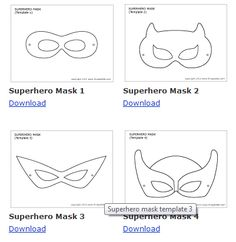 downloadable mask template. superhero-vintage-bright-dessert-table  What about printing a bunch of mask eyes and mask lower faces  providing crayons, markers, glue, craft supplies for people to make their own masks for photo booth?!
