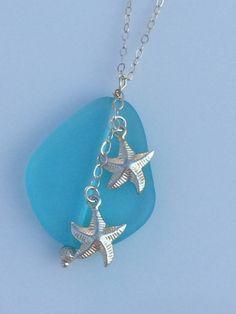 Sea Glass & Starfish Necklace by CharmsByCynda on Etsy