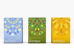 Identity & packaging design for Aromayur, a new line of all-natural products by Hem Corporation; India's leading perfumed incense companyThe single stroke logo evokes wafting fragrance and resembles a seal to give the identity a luxe feel. The packaging…