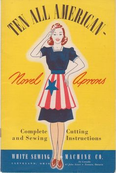 Vintage Original Book Ten All American Novel Aprons Cutting Sewing Instructions #SewVintageMemories