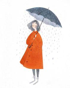 Rain and umbrella illustration Art And Illustration, Texture Illustration, Gravure Illustration, People Illustration, Illustrations And Posters, Character Illustration, Cloud Drawing, Drawing Drawing, Drawing Ideas