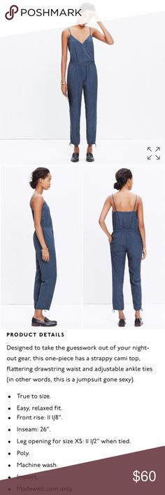 NWOT Madewell Faux-Wrap Cami Jumpsuit in Sundial NWOT Madewell Faux-Wrap Cami Jumpsuit in Sundial, size large, true to size. See measurements and product info above. Purchased last summer but have never worn it - time for someone else to love it so I can downsize my closet! Madewell Pants Jumpsuits & Rompers