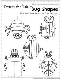 Preschool Shapes Worksheet - Trace and Color Bugs