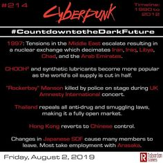 Day 214 Continues to look at the alternate timeline leading to collapse and the dark future of Cyberpunk2020 #rtalsoriangames #cyberpunk…