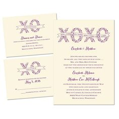"""modern hugs and kisses style wedding invitations.   """"XOXO"""" 3 for 1 Invitation in Ecru. Printed using raised ink and you can change the color to match your wedding colors!"""