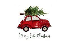 Merry little Christmas 🎄 Christmas Car, Merry Little Christmas, Vintage Christmas, Christmas Holidays, Christmas Crafts, Christmas Decorations, Christmas Punch, Christmas Ornaments, Illustration Noel