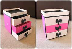 Peach fizzz-homemade makeup drawers, great  step by step instructions! Just need boxes, scissors,ribbons and glue!