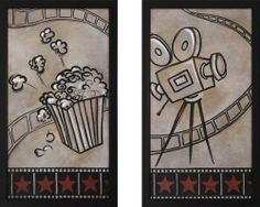 Camera and Popcorn Print Theater Wall Art Pair by Stargate Cinema. $174.99. Black Glass Frame. Quality Print. Framed with Glass. Comes in Set of 2. Black Decorative Frame. Popcorn and Camera Print Framed Theater Wall Art with Movie Theme Pair of Prints  Dimensions: 16X28 Frame Width 1 1/8 Frame Depth 1 7/8   Black Frame  This wall art will make your theater look complete!. Save 30% Off!