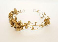 Gold flower crown Golden floral circlet Bridal by Lietofiore