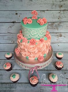 Coral pink and teal blue colors with fondant fabric roses and edible lace. Cake topper with miniature roses and design complimentary cupcakes. Pretty Cakes, Cute Cakes, Beautiful Cakes, Amazing Cakes, Cake Cookies, Cupcake Cakes, Edible Lace, Cakes For Women, Floral Cake