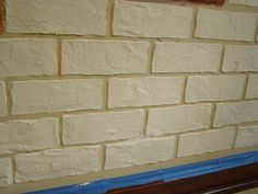 Make brick stencil, cover with joint compound. Once dry faux paint brick to give a realistic look. Can add cement powder color (brown, red, etc.) to joint compound, too. Faux Brick Walls, Cement Walls, Paint Brick, Brick And Stone, Faux Stone, Brick Interior, Rustic Italian, Faux Painting, Wall Finishes
