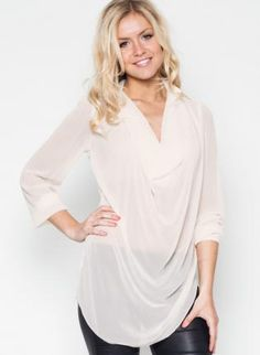 Cream Cowl Neck Blouse with 3/4 Length Sleeves,  Top, cowl neck blouse  long sleeve, Casual